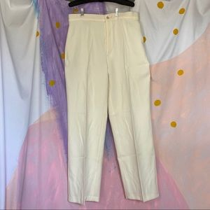 VINTAGE 80s White Polyester Straight Leg Trousers